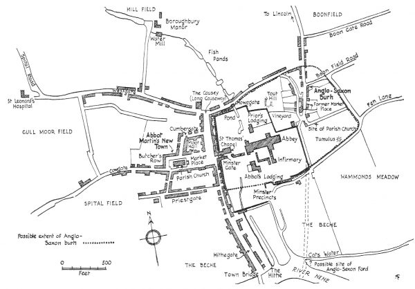 Medieval Peterborough Street Map - Steane