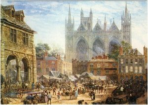 Peterborough Market Square in 1864 - LouiseRayner