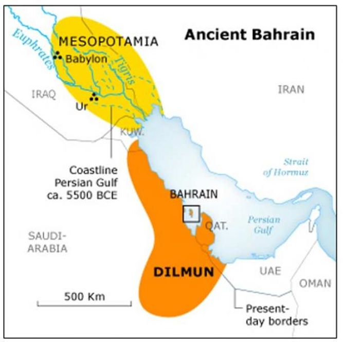archaeology of bahrain - map